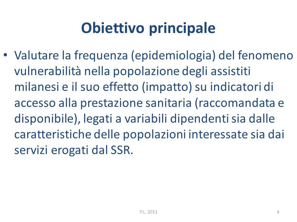Obiettivo principale Valutare la frequenza (epidemiologia) del fenomeno vulnerabilità nella popolazione degli assistiti milanesi e il suo effetto (imp