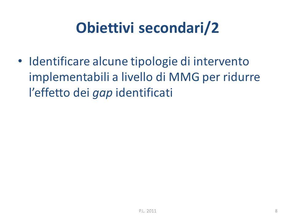 Obiettivi secondari/2 Identificare alcune tipologie di intervento implementabili a livello di MMG per ridurre leffetto dei gap identificati 8P.L. 2011