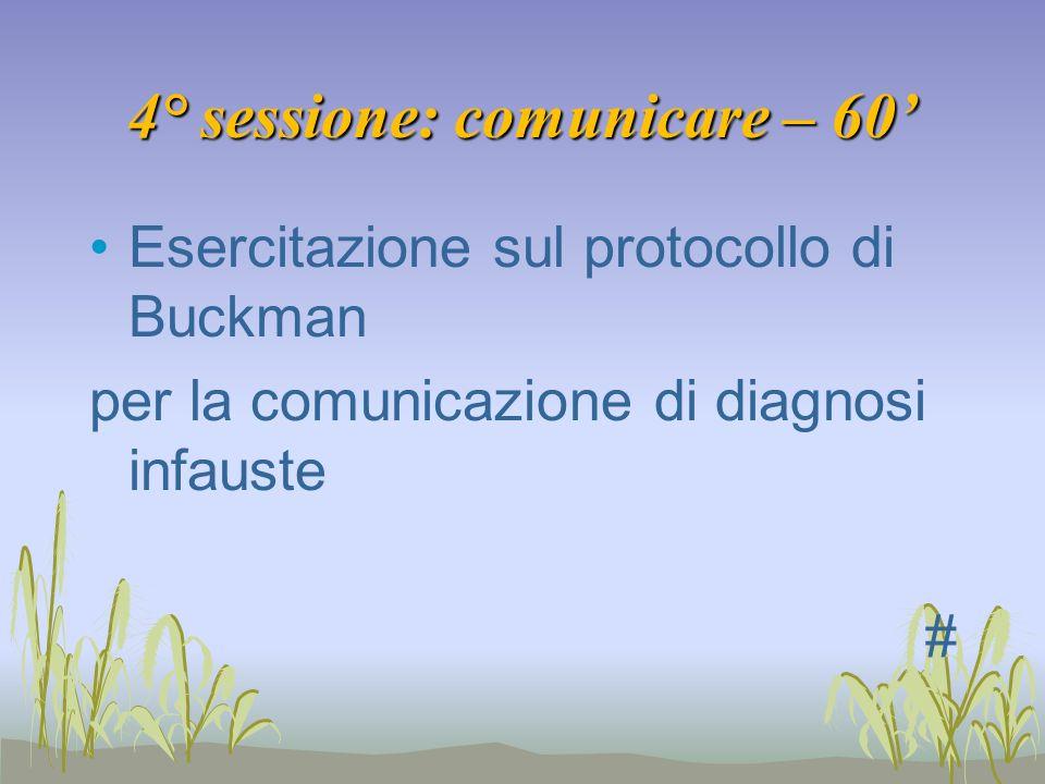 4° sessione: comunicare – 60 Esercitazione sul protocollo di Buckman per la comunicazione di diagnosi infauste #