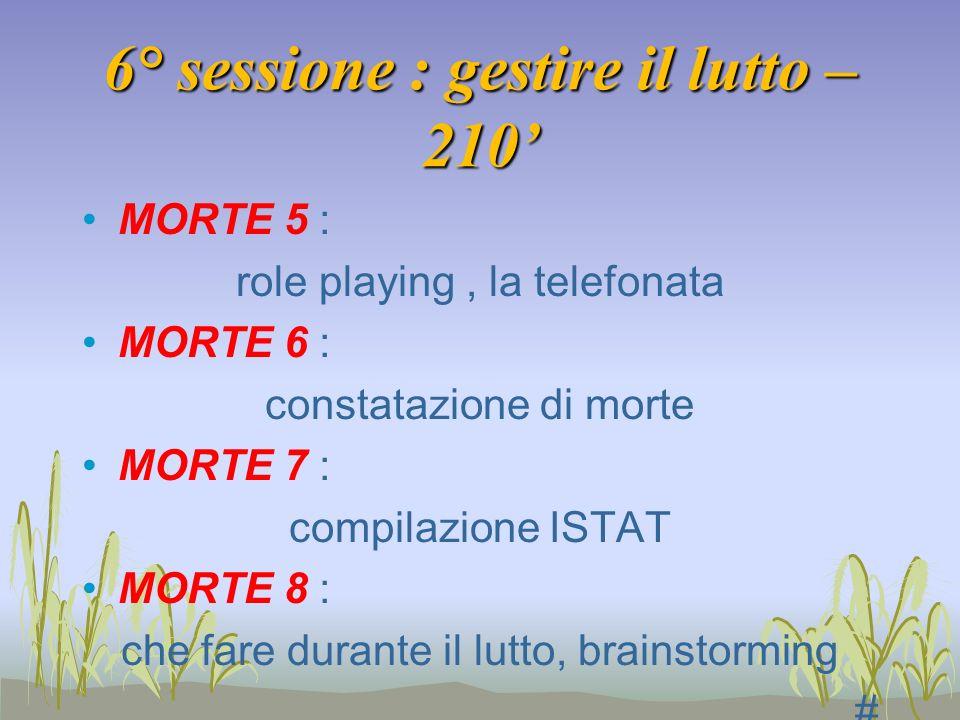 6° sessione : gestire il lutto – 210 MORTE 5 : role playing, la telefonata MORTE 6 : constatazione di morte MORTE 7 : compilazione ISTAT MORTE 8 : che