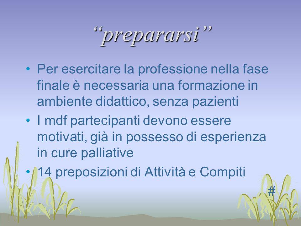 prepararsi Per esercitare la professione nella fase finale è necessaria una formazione in ambiente didattico, senza pazienti I mdf partecipanti devono