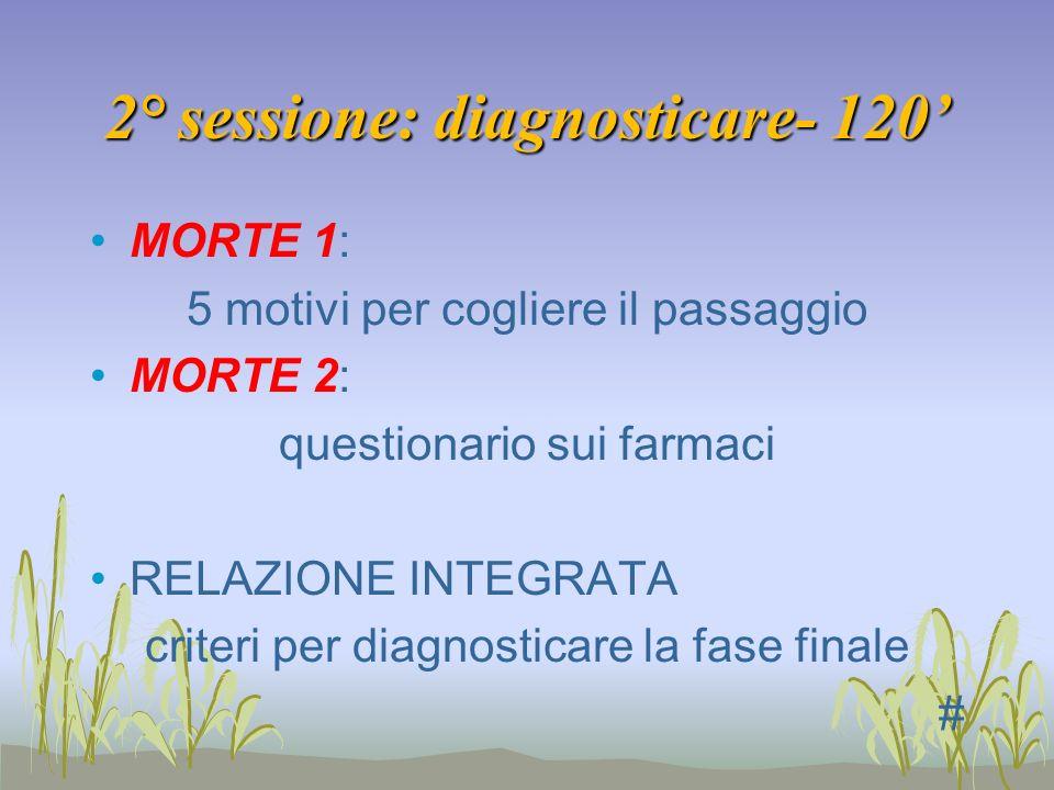 2° sessione: diagnosticare- 120 MORTE 1: 5 motivi per cogliere il passaggio MORTE 2: questionario sui farmaci RELAZIONE INTEGRATA criteri per diagnost