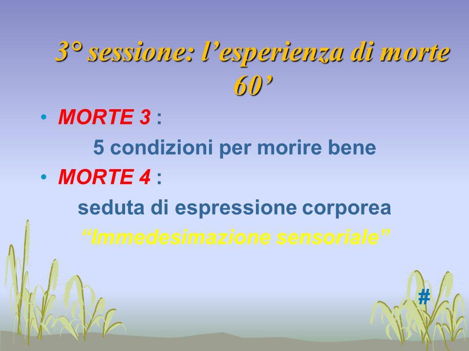3° sessione: lesperienza di morte 60 MORTE 3 : 5 condizioni per morire bene MORTE 4 : seduta di espressione corporea Immedesimazione sensoriale #