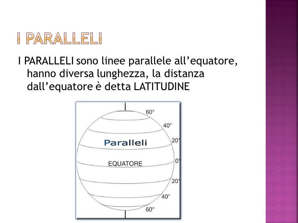 I PARALLELI sono linee parallele allequatore, hanno diversa lunghezza, la distanza dallequatore è detta LATITUDINE