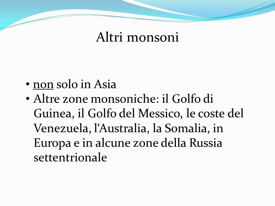 Altri monsoni non solo in Asia Altre zone monsoniche: il Golfo di Guinea, il Golfo del Messico, le coste del Venezuela, lAustralia, la Somalia, in Eur