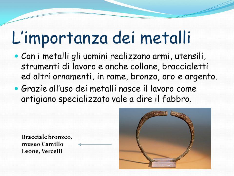 Limportanza dei metalli Con i metalli gli uomini realizzano armi, utensili, strumenti di lavoro e anche collane, braccialetti ed altri ornamenti, in rame, bronzo, oro e argento.