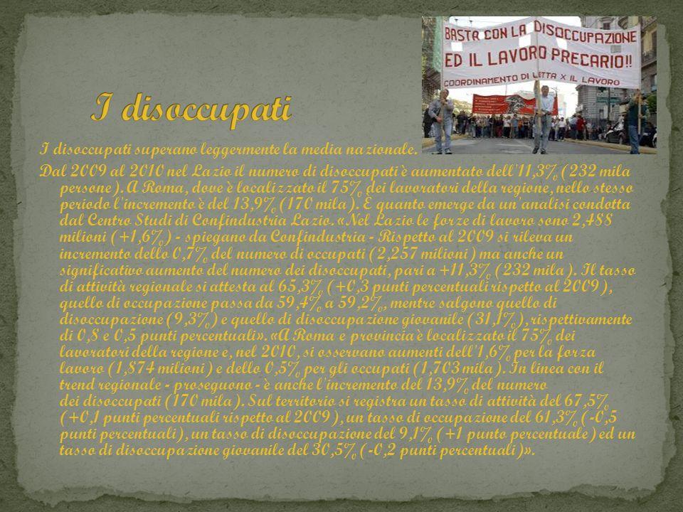 I disoccupati superano leggermente la media nazionale. Dal 2009 al 2010 nel Lazio il numero di disoccupati è aumentato dell'11,3% (232 mila persone).