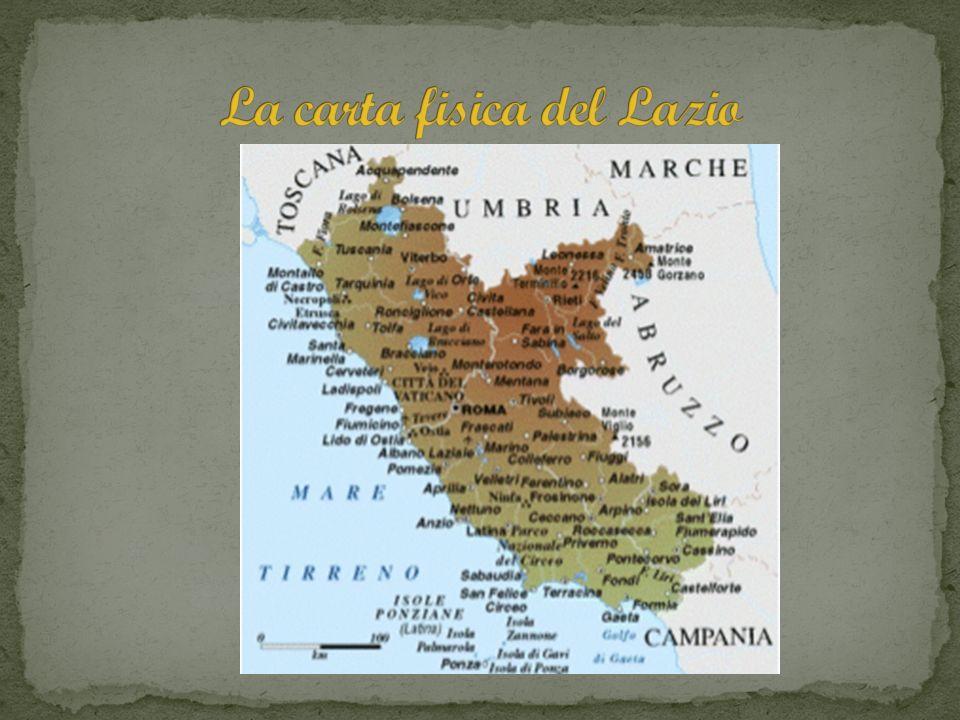 I Lazio confina a nord-ovest con la Toscana, a nord con Umbria e Marche, a est con Molise e Abruzzo, a sud con la Campania e a.ovest con il Mar Tirreno.