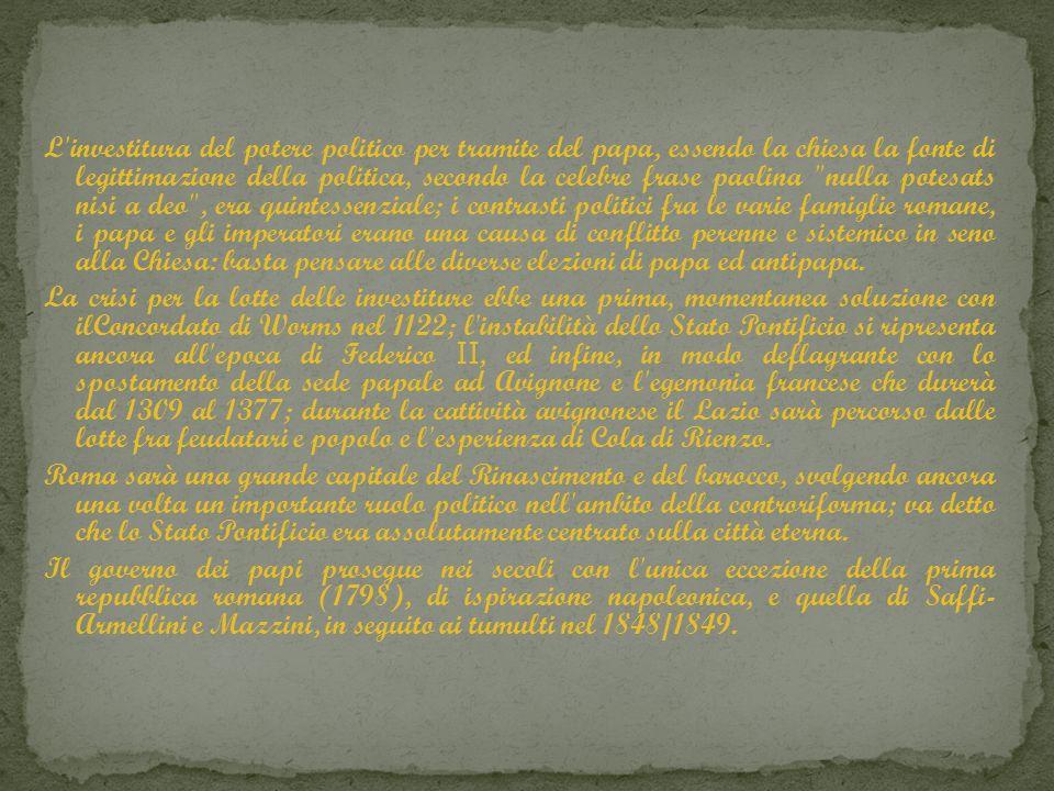 L'investitura del potere politico per tramite del papa, essendo la chiesa la fonte di legittimazione della politica, secondo la celebre frase paolina