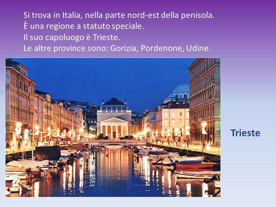 Trieste Si trova in Italia, nella parte nord-est della penisola. È una regione a statuto speciale. Il suo capoluogo è Trieste. Le altre province sono:
