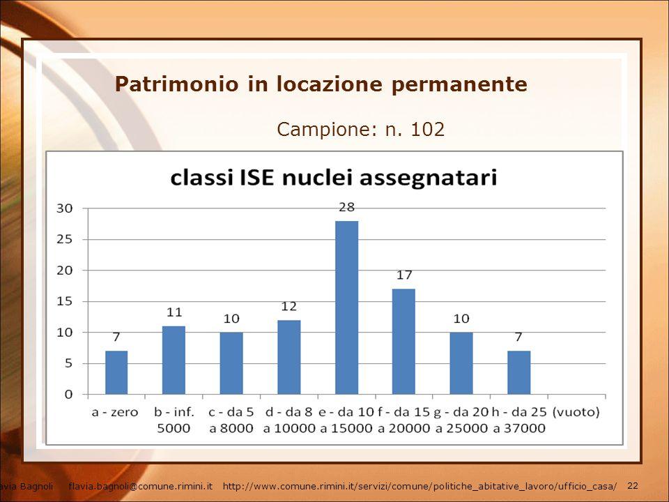 Patrimonio in locazione permanente Campione: n. 102 Flavia Bagnoli flavia.bagnoli@comune.rimini.it http://www.comune.rimini.it/servizi/comune/politich