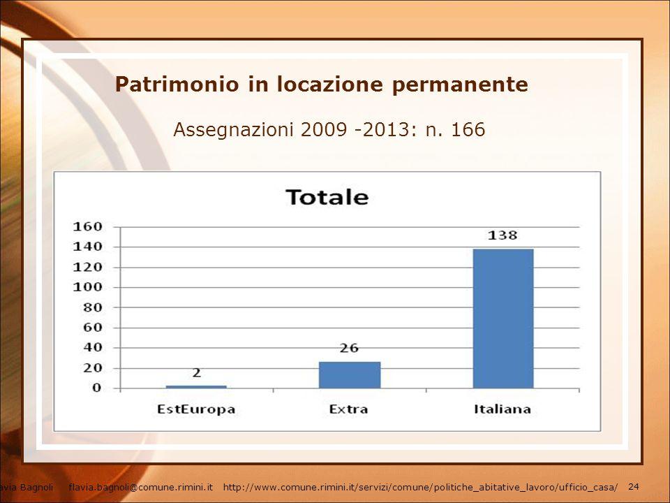 Patrimonio in locazione permanente Assegnazioni 2009 -2013: n. 166 Flavia Bagnoli flavia.bagnoli@comune.rimini.it http://www.comune.rimini.it/servizi/