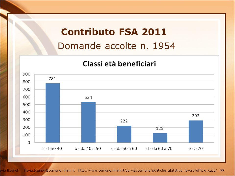 Contributo FSA 2011 Domande accolte n. 1954 Flavia Bagnoli flavia.bagnoli@comune.rimini.it http://www.comune.rimini.it/servizi/comune/politiche_abitat
