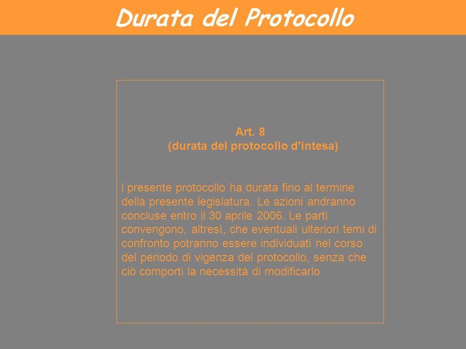 Durata del Protocollo Art. 8 (durata del protocollo d'intesa) l presente protocollo ha durata fino al termine della presente legislatura. Le azioni an