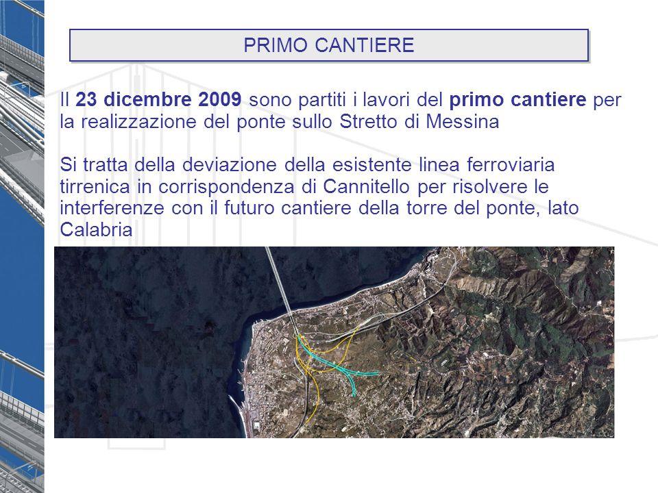 Il 23 dicembre 2009 sono partiti i lavori del primo cantiere per la realizzazione del ponte sullo Stretto di Messina Si tratta della deviazione della esistente linea ferroviaria tirrenica in corrispondenza di Cannitello per risolvere le interferenze con il futuro cantiere della torre del ponte, lato Calabria PRIMO CANTIERE