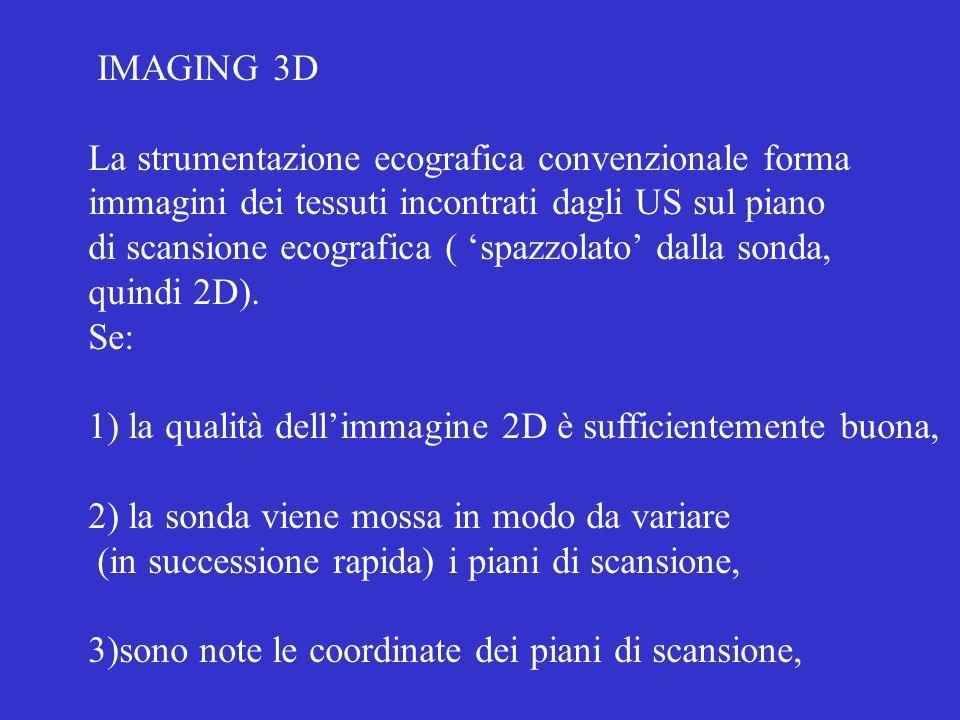IMAGING 3D La strumentazione ecografica convenzionale forma immagini dei tessuti incontrati dagli US sul piano di scansione ecografica ( spazzolato da