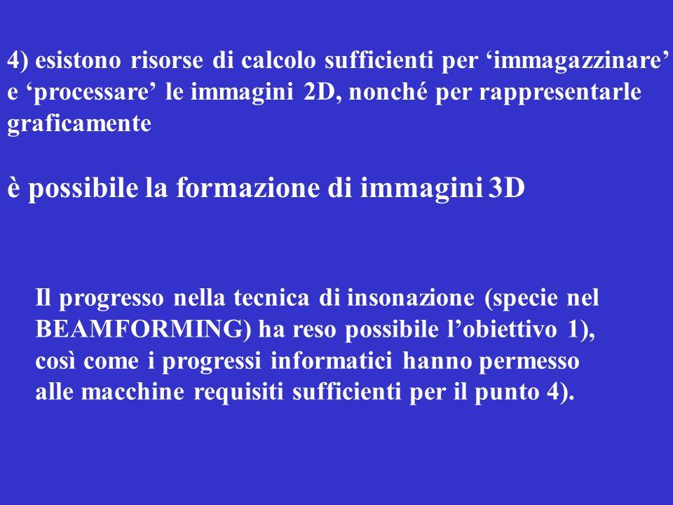 4) esistono risorse di calcolo sufficienti per immagazzinare e processare le immagini 2D, nonché per rappresentarle graficamente è possibile la formaz