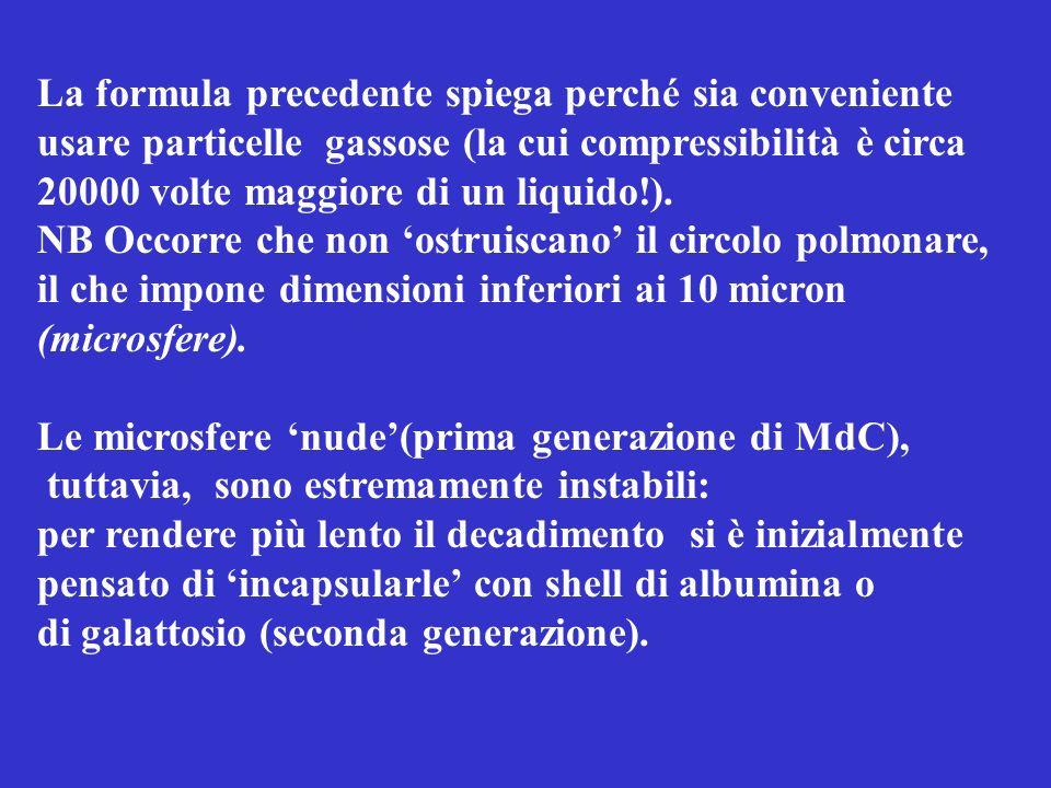 La formula precedente spiega perché sia conveniente usare particelle gassose (la cui compressibilità è circa 20000 volte maggiore di un liquido!). NB