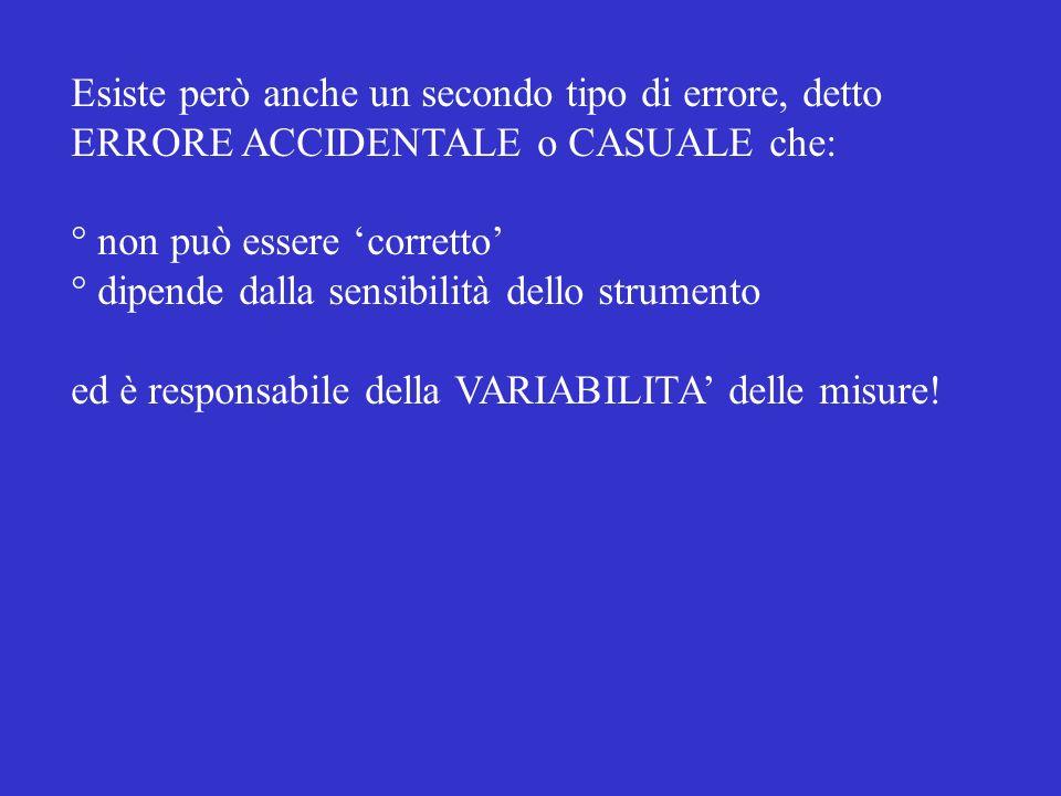 Esiste però anche un secondo tipo di errore, detto ERRORE ACCIDENTALE o CASUALE che: ° non può essere corretto ° dipende dalla sensibilità dello strumento ed è responsabile della VARIABILITA delle misure!