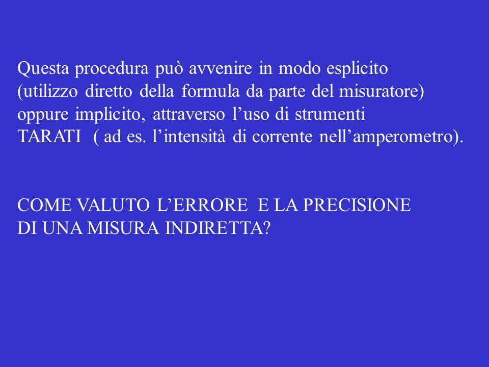 Questa procedura può avvenire in modo esplicito (utilizzo diretto della formula da parte del misuratore) oppure implicito, attraverso luso di strumenti TARATI ( ad es.