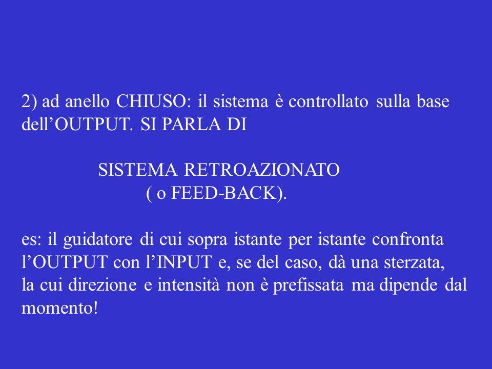 2) ad anello CHIUSO: il sistema è controllato sulla base dellOUTPUT.