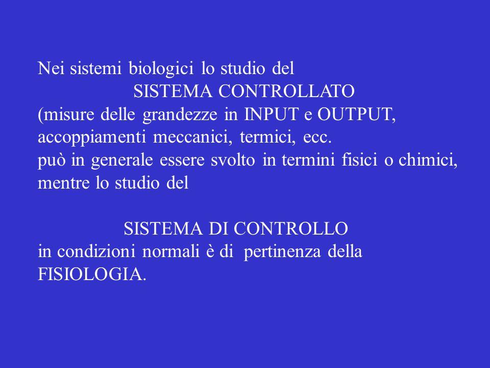 Nei sistemi biologici lo studio del SISTEMA CONTROLLATO (misure delle grandezze in INPUT e OUTPUT, accoppiamenti meccanici, termici, ecc.