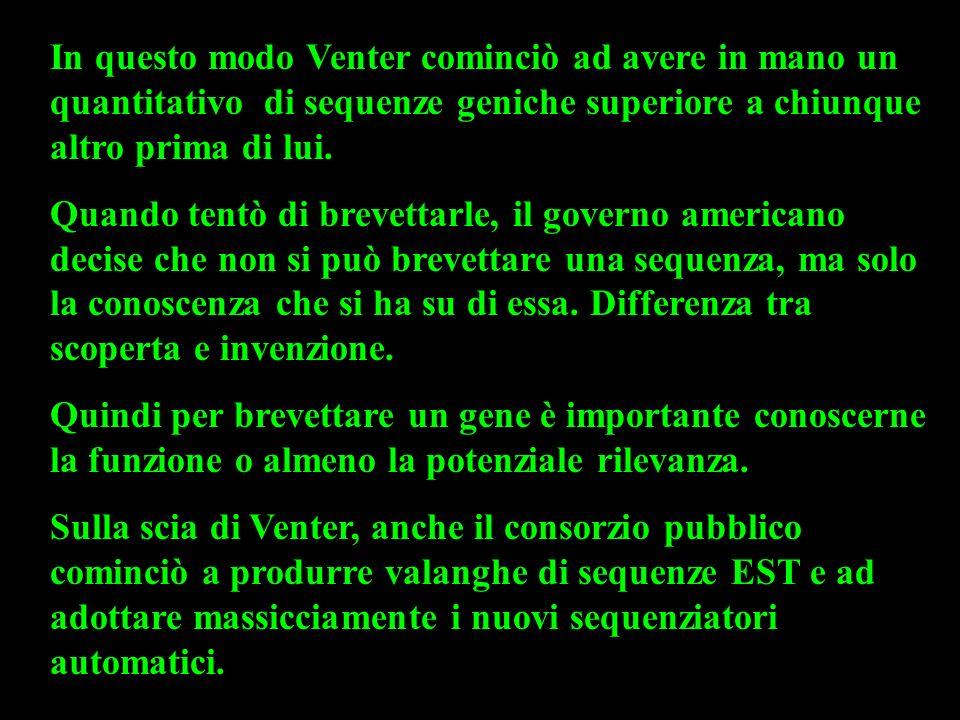In questo modo Venter cominciò ad avere in mano un quantitativo di sequenze geniche superiore a chiunque altro prima di lui. Quando tentò di brevettar