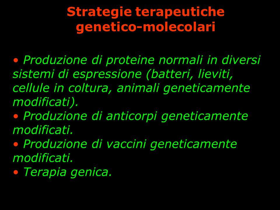 Strategie terapeutiche genetico-molecolari Produzione di proteine normali in diversi sistemi di espressione (batteri, lieviti, cellule in coltura, animali geneticamente modificati).