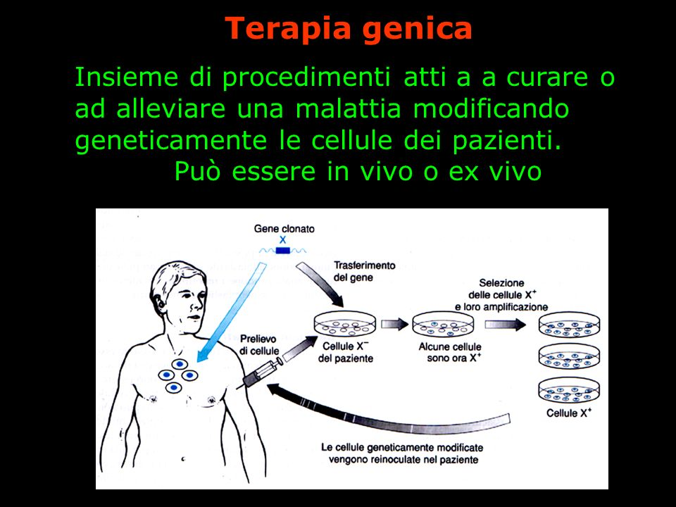 Insieme di procedimenti atti a a curare o ad alleviare una malattia modificando geneticamente le cellule dei pazienti. Può essere in vivo o ex vivo Te