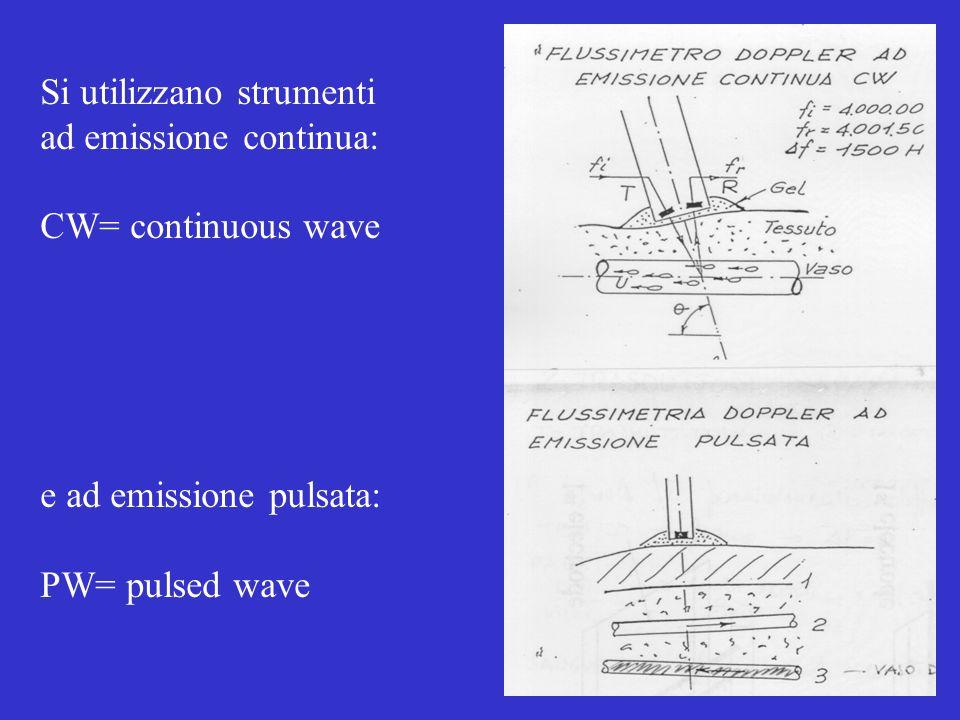 Si utilizzano strumenti ad emissione continua: CW= continuous wave e ad emissione pulsata: PW= pulsed wave