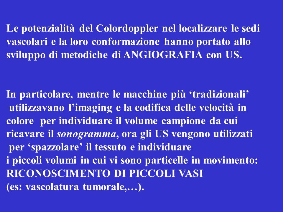 Le potenzialità del Colordoppler nel localizzare le sedi vascolari e la loro conformazione hanno portato allo sviluppo di metodiche di ANGIOGRAFIA con