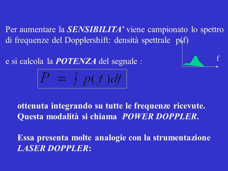 Per aumentare la SENSIBILITA viene campionato lo spettro di frequenze del Dopplershift: densità spettrale p(f) e si calcola la POTENZA del segnale : o