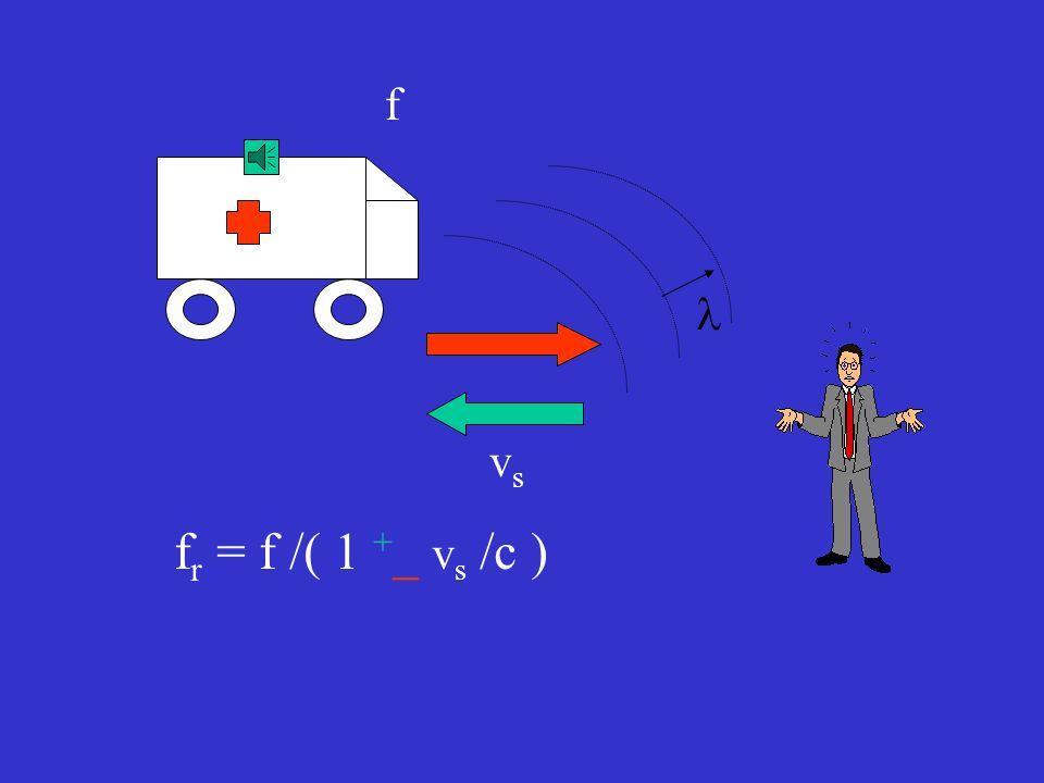 vrvr vsvs f f r = f ( 1 + _ v r /c ) /( 1 + _ v s /c )