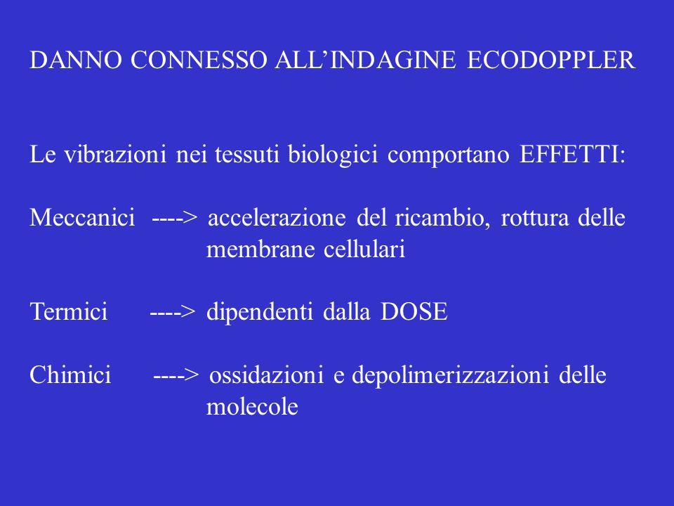 DANNO CONNESSO ALLINDAGINE ECODOPPLER Le vibrazioni nei tessuti biologici comportano EFFETTI: Meccanici ----> accelerazione del ricambio, rottura delle membrane cellulari Termici ----> dipendenti dalla DOSE Chimici ----> ossidazioni e depolimerizzazioni delle molecole