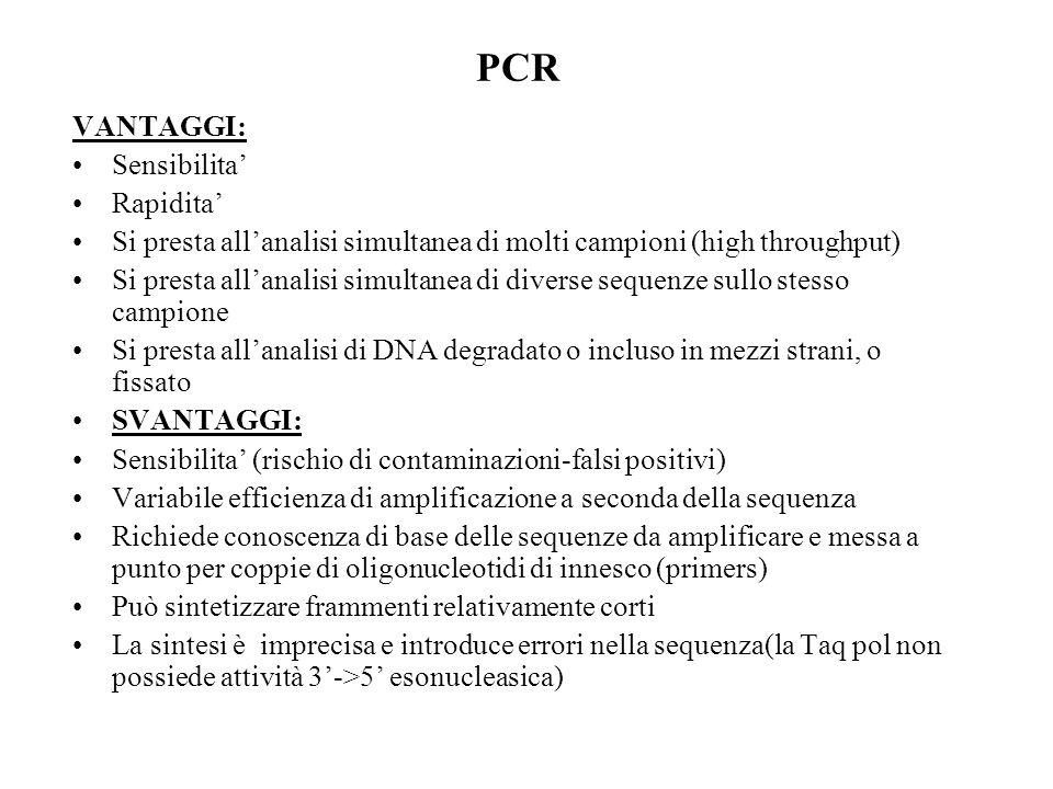 PCR VANTAGGI: Sensibilita Rapidita Si presta allanalisi simultanea di molti campioni (high throughput) Si presta allanalisi simultanea di diverse sequ