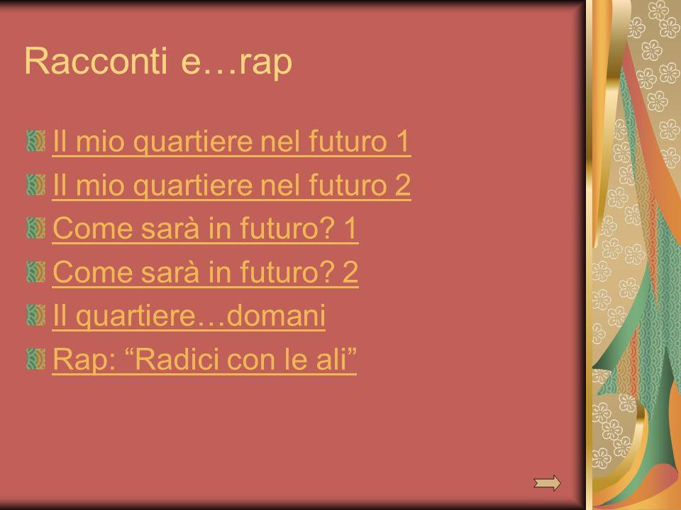 Racconti e…rap Il mio quartiere nel futuro 1 Il mio quartiere nel futuro 2 Come sarà in futuro? 1 Come sarà in futuro? 2 Il quartiere…domani Rap: Radi