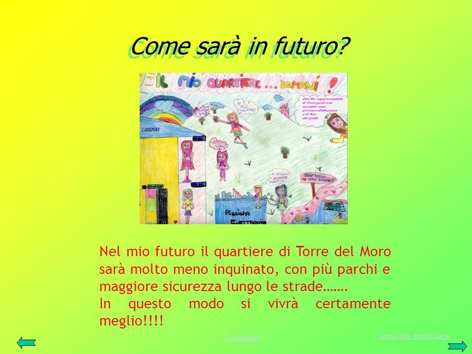 Come sarà in futuro? Come sarà in futuro? Nel mio futuro il quartiere di Torre del Moro sarà molto meno inquinato, con più parchi e maggiore sicurezza