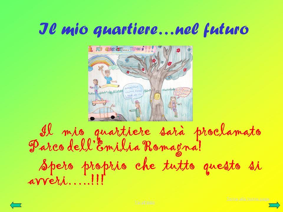 Il mio quartiere…nel futuro Il mio quartiere sarà proclamato Parco dellEmilia Romagna! Spero proprio che tutto questo si avveri…..!!! Torna alla home