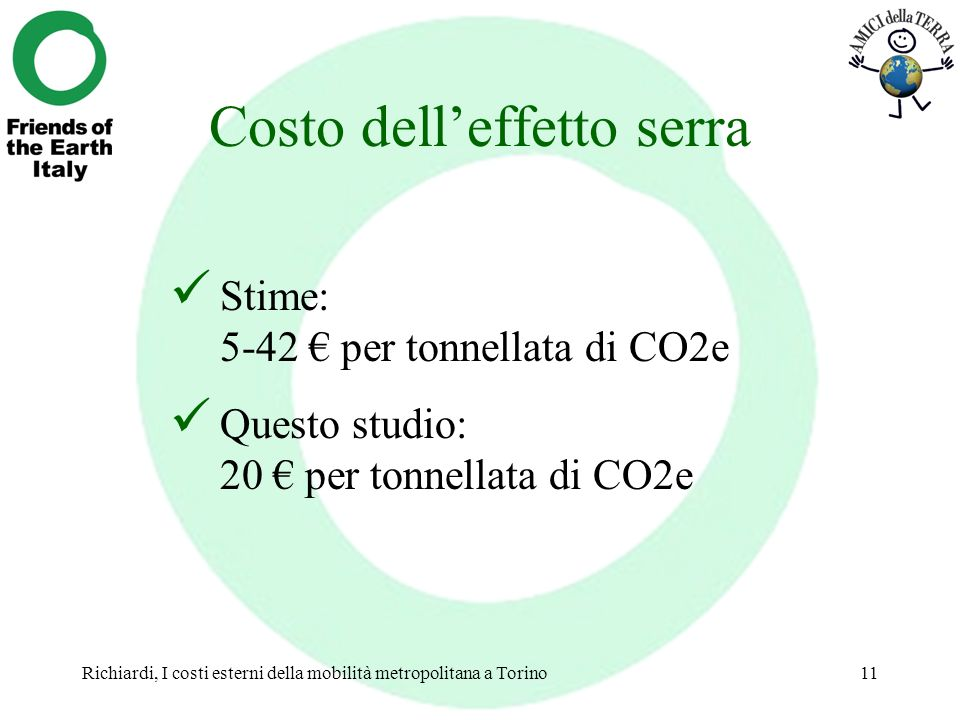 Richiardi, I costi esterni della mobilità metropolitana a Torino11 Costo delleffetto serra Stime: 5-42 per tonnellata di CO2e Questo studio: 20 per to