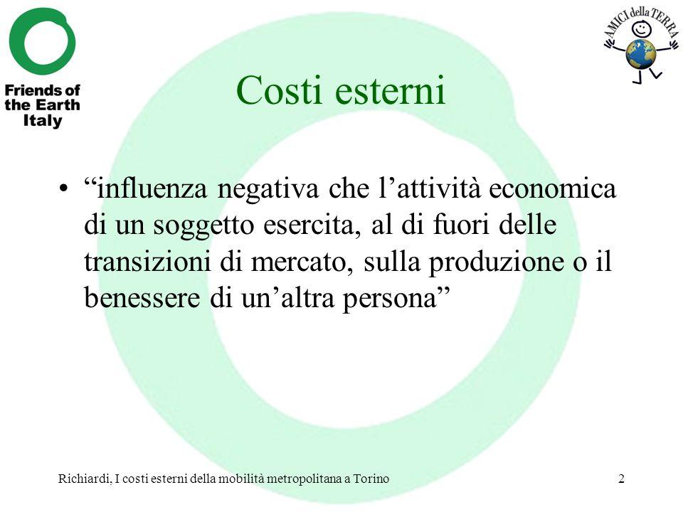 Richiardi, I costi esterni della mobilità metropolitana a Torino2 Costi esterni influenza negativa che lattività economica di un soggetto esercita, al