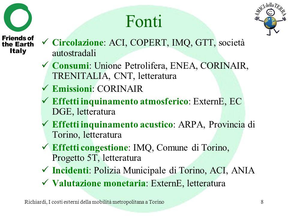 Richiardi, I costi esterni della mobilità metropolitana a Torino8 Fonti Circolazione: ACI, COPERT, IMQ, GTT, società autostradali Consumi: Unione Petr