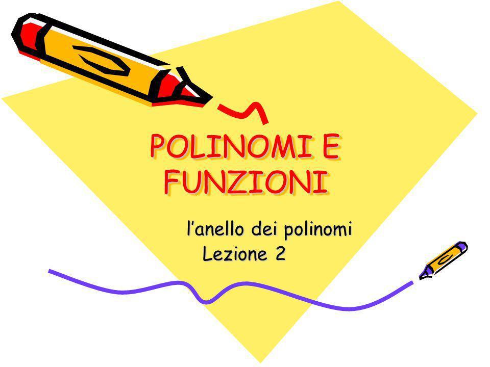 POLINOMI E FUNZIONI lanello dei polinomi Lezione 2