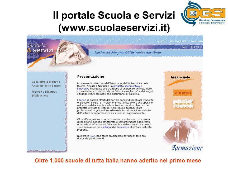 Il portale Scuola e Servizi (www.scuolaeservizi.it) Oltre 1.000 scuole di tutta Italia hanno aderito nel primo mese