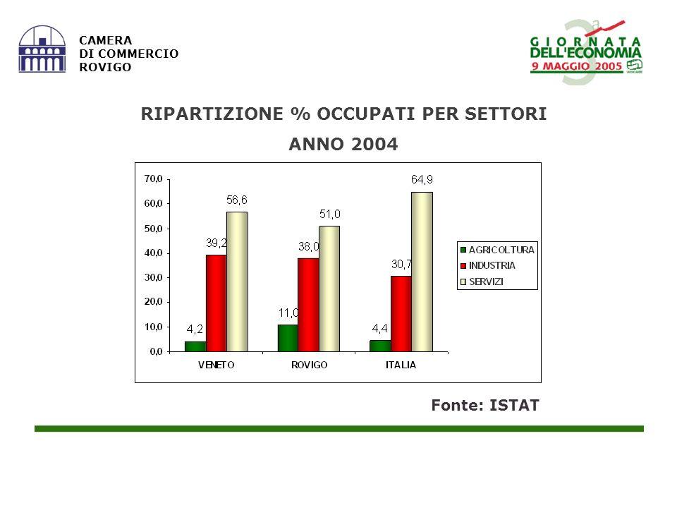 CAMERA DI COMMERCIO ROVIGO RIPARTIZIONE % OCCUPATI PER SETTORI ANNO 2004 Fonte: ISTAT