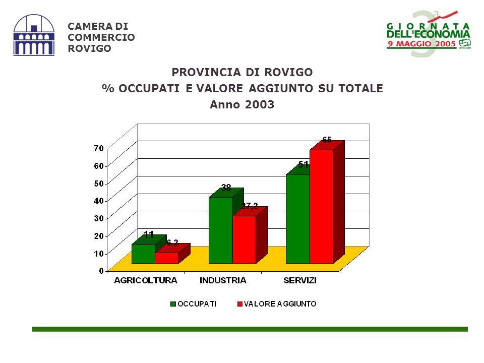 CAMERA DI COMMERCIO ROVIGO PROVINCIA DI ROVIGO % OCCUPATI E VALORE AGGIUNTO SU TOTALE Anno 2003