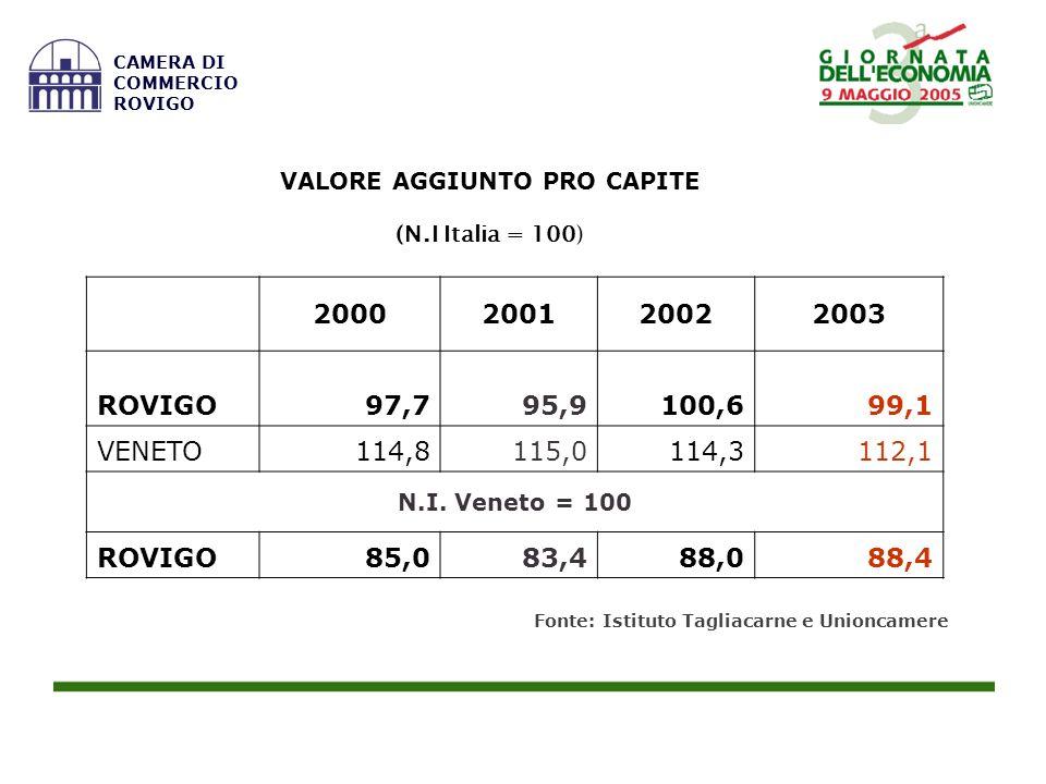 VALORE AGGIUNTO PRO CAPITE (N.I Italia = 100) 2000200120022003 ROVIGO97,795,9100,699,1 VENETO114,8115,0114,3112,1 N.I. Veneto = 100 ROVIGO85,083,488,0