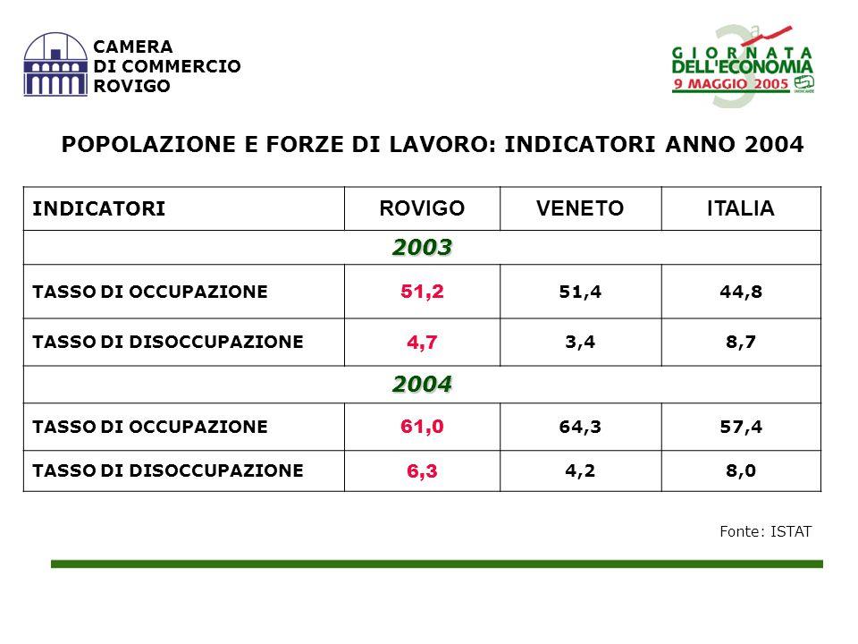 Fonte: Elaborazioni su dati Tagliacarne CAMERA DI COMMERCIO ROVIGO REDDITO DISPONIBILE PRO CAPITE (Valori in euro) 20012002 N.I.