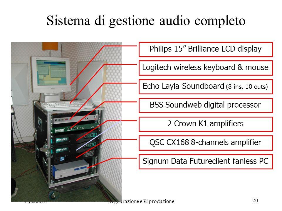 9/12/2010Registrazione e Riproduzione 20 Sistema di gestione audio completo Philips 15 Brilliance LCD display Logitech wireless keyboard & mouse Echo