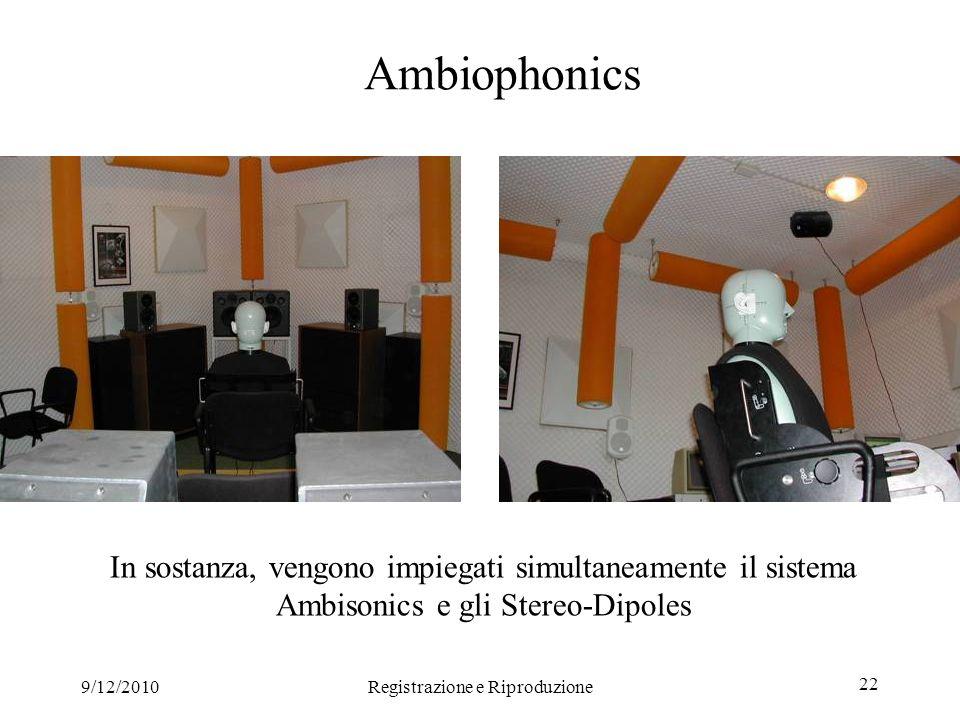9/12/2010Registrazione e Riproduzione 22 Ambiophonics In sostanza, vengono impiegati simultaneamente il sistema Ambisonics e gli Stereo-Dipoles