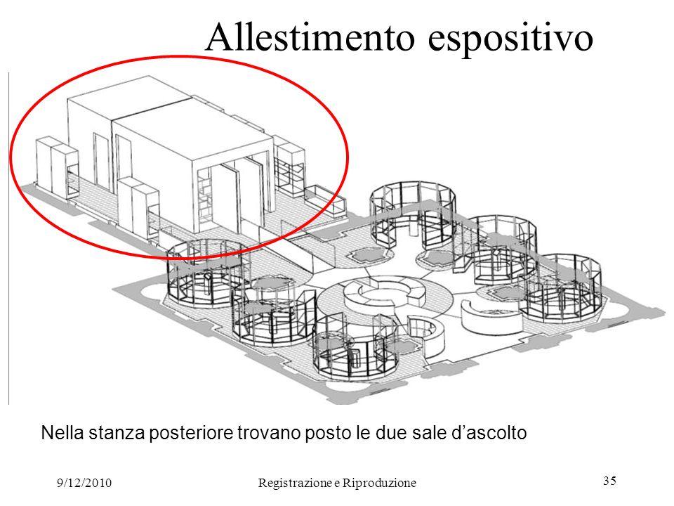 9/12/2010Registrazione e Riproduzione 35 Allestimento espositivo Nella stanza posteriore trovano posto le due sale dascolto